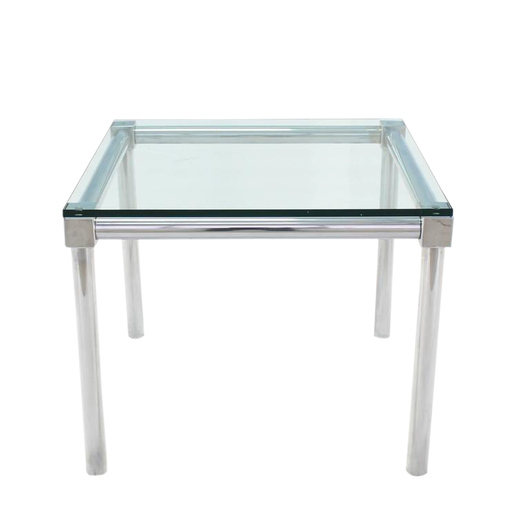 Wonderful Superb Chrome And Thick Glass Top Square Game Table | DECASO