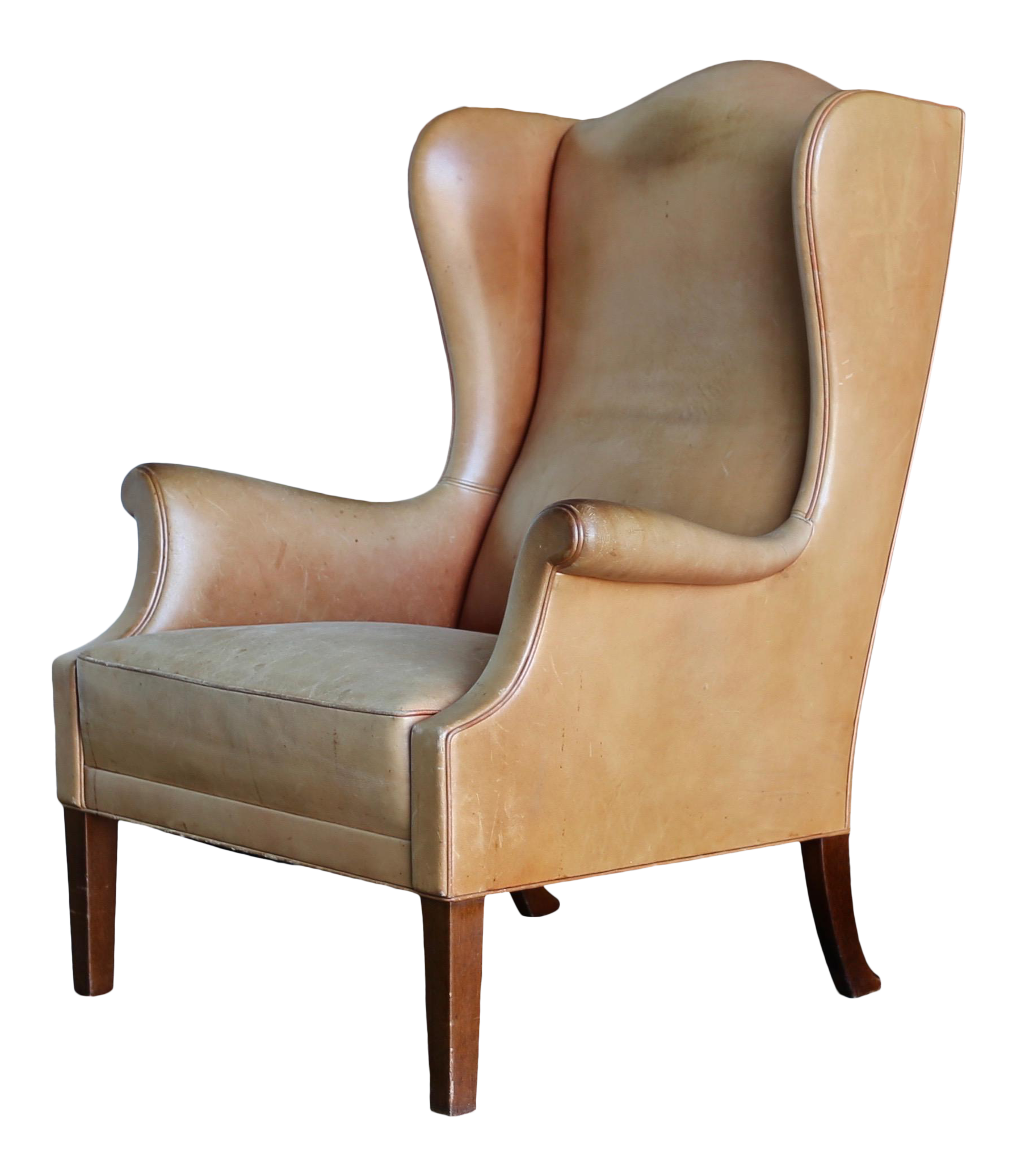 Astounding 1950S Vintage Danish Leather Wingback Chair Short Links Chair Design For Home Short Linksinfo