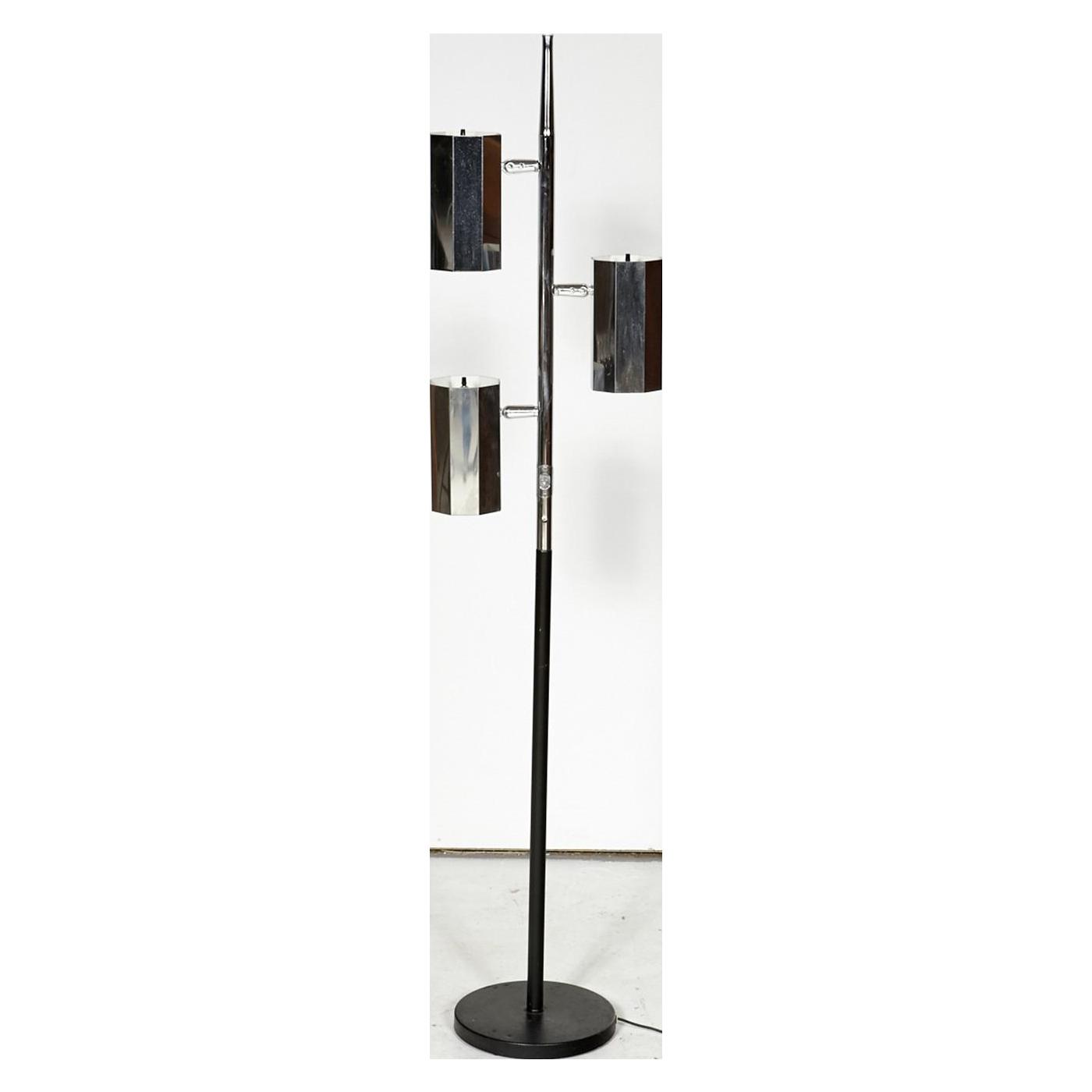 1960s chrome black 3 light floor lamp chairish aloadofball Images