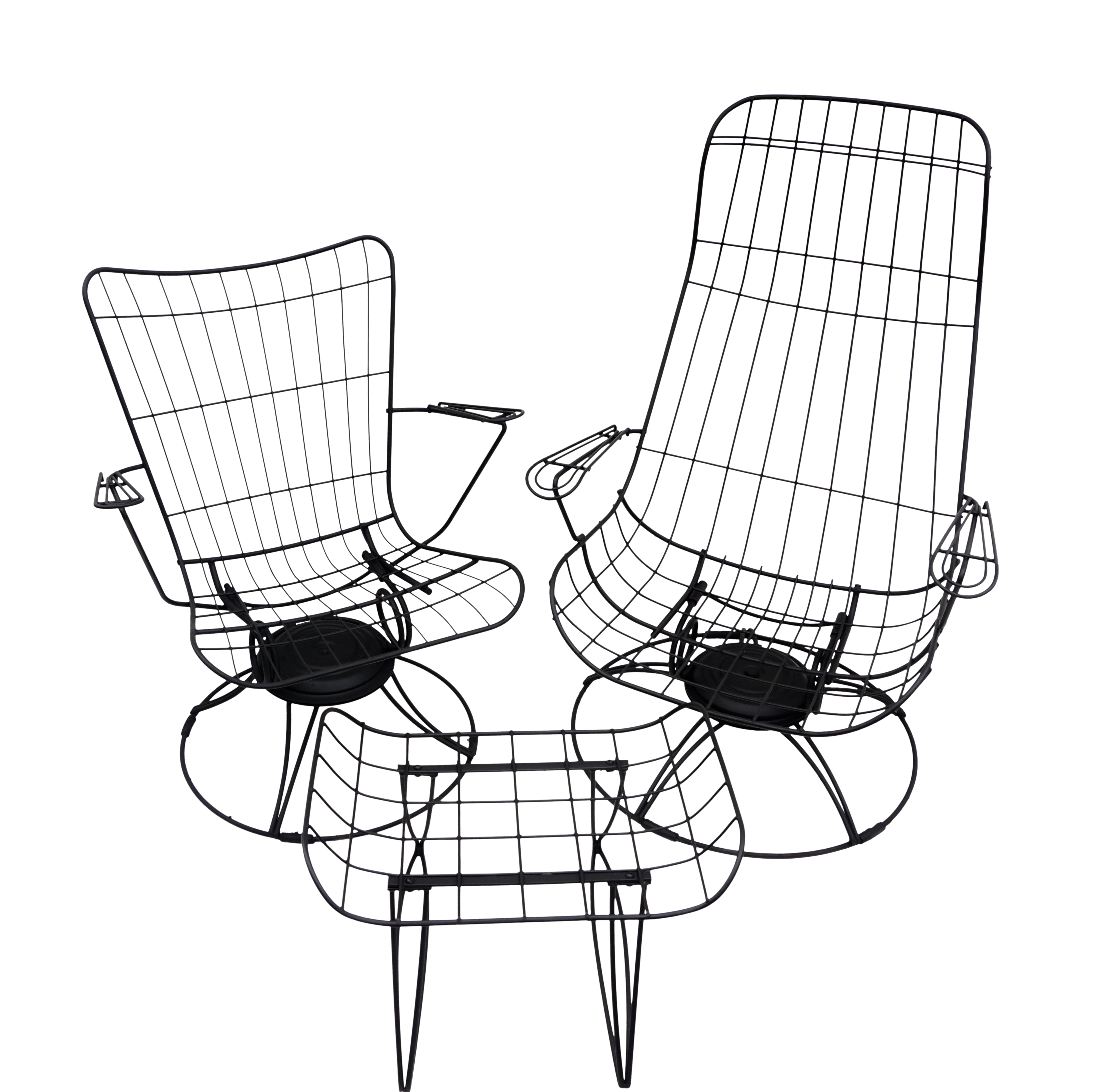 Picture of: Mid Century Homecrest Metal Wire Patio Chairs Ottoman Indoor Outdoor High Back Swivel Rocker Lounger Footstool Original Cushions Included Chairish