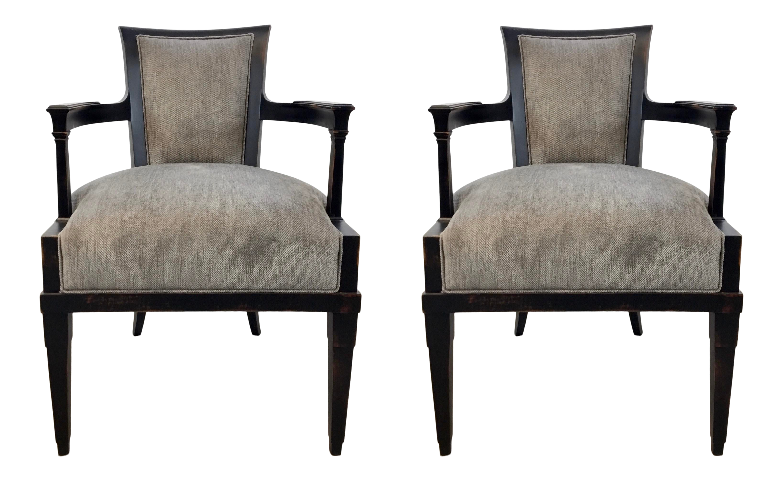 Hickory Chair Modern Black Rubbed Arm Chairs Pair