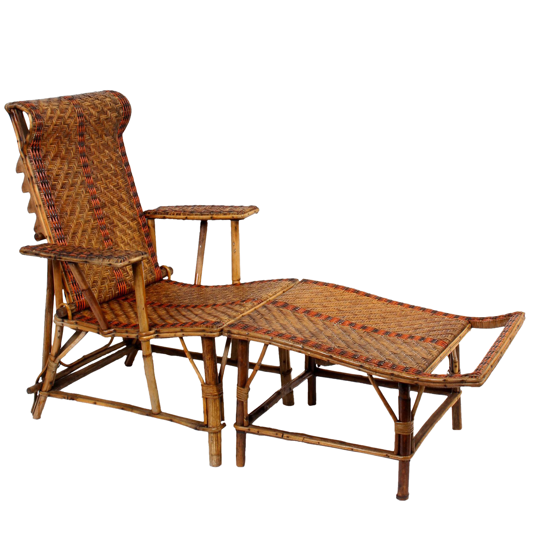 Vintage french bamboo rattan chaise lounge chairish for Antique rattan chaise lounge