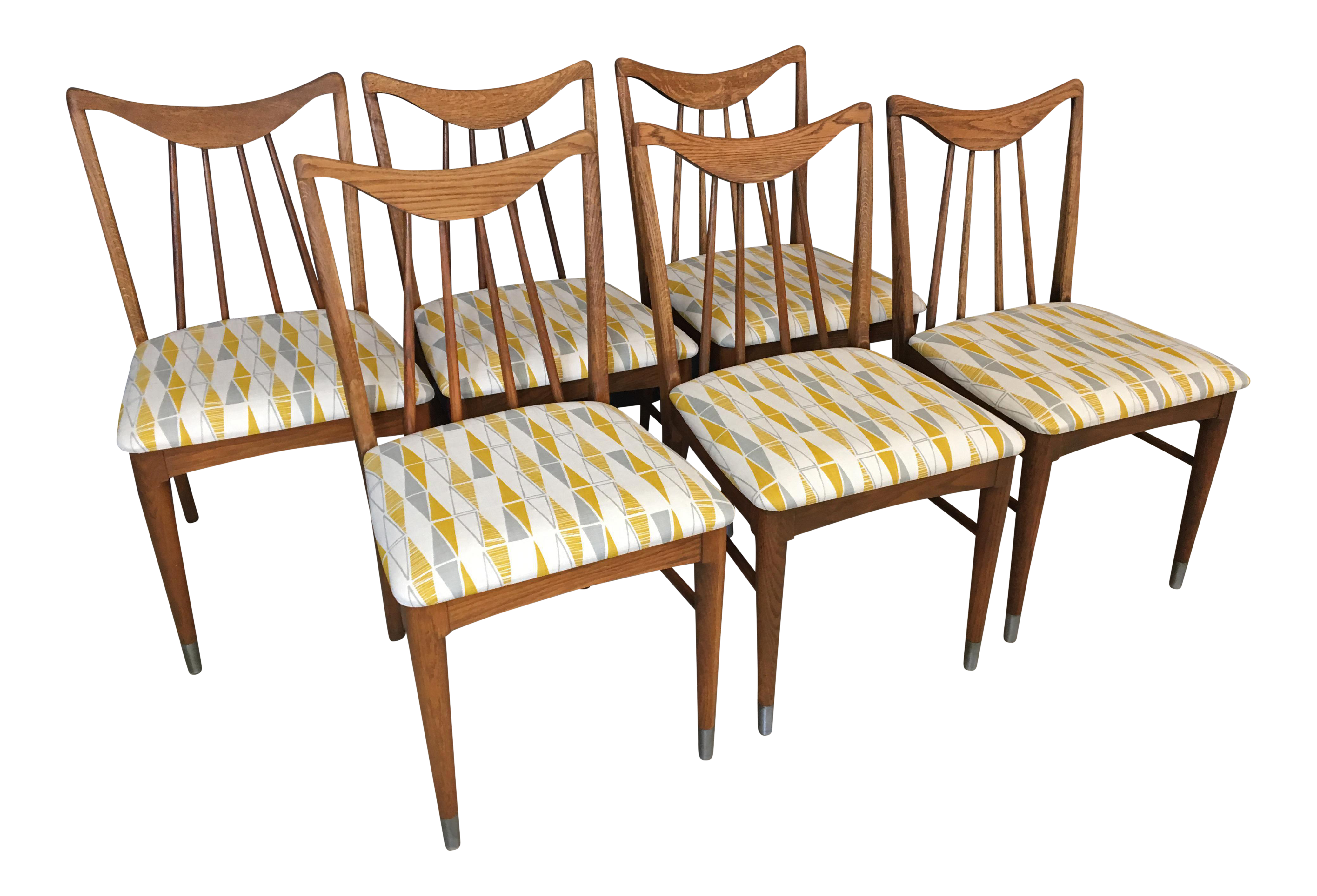 1950s Vintage Keller Hickory Re Upholstered Dining Chairs