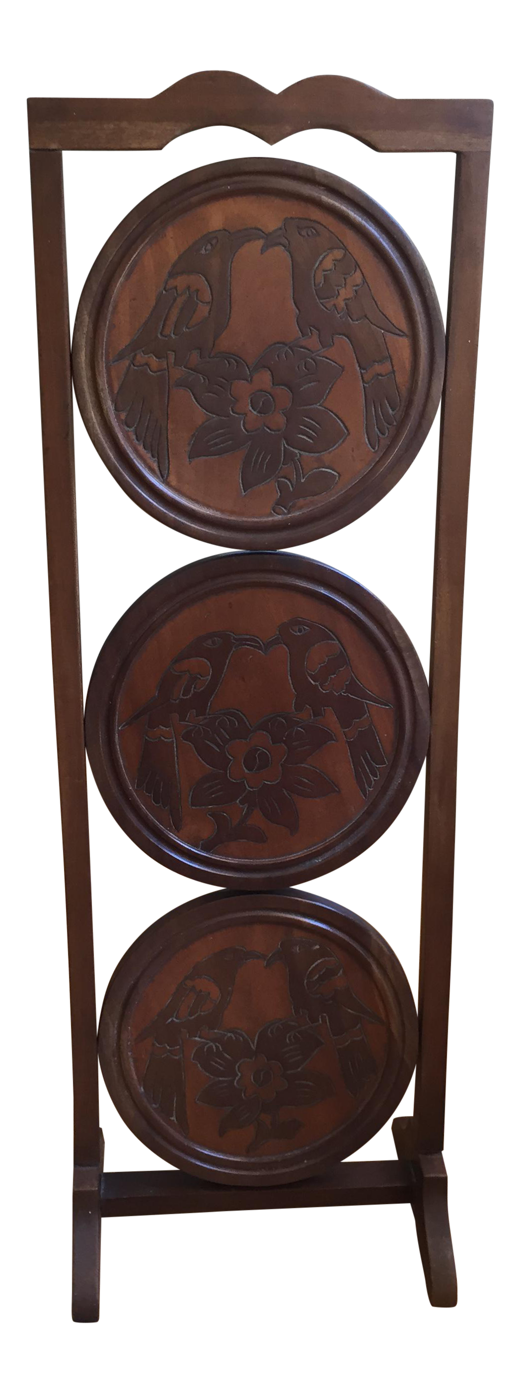 sc 1 st  Chairish & Vintage Solid Wood 3-Tier Folding Pie Plate Stand   Chairish