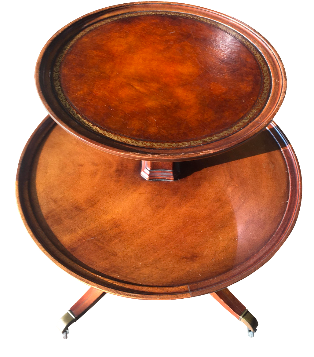 Weiman Leather Top Mahogany Two-Tier Side Table - Gently Used Weiman Furniture Up To 50% Off At Chairish