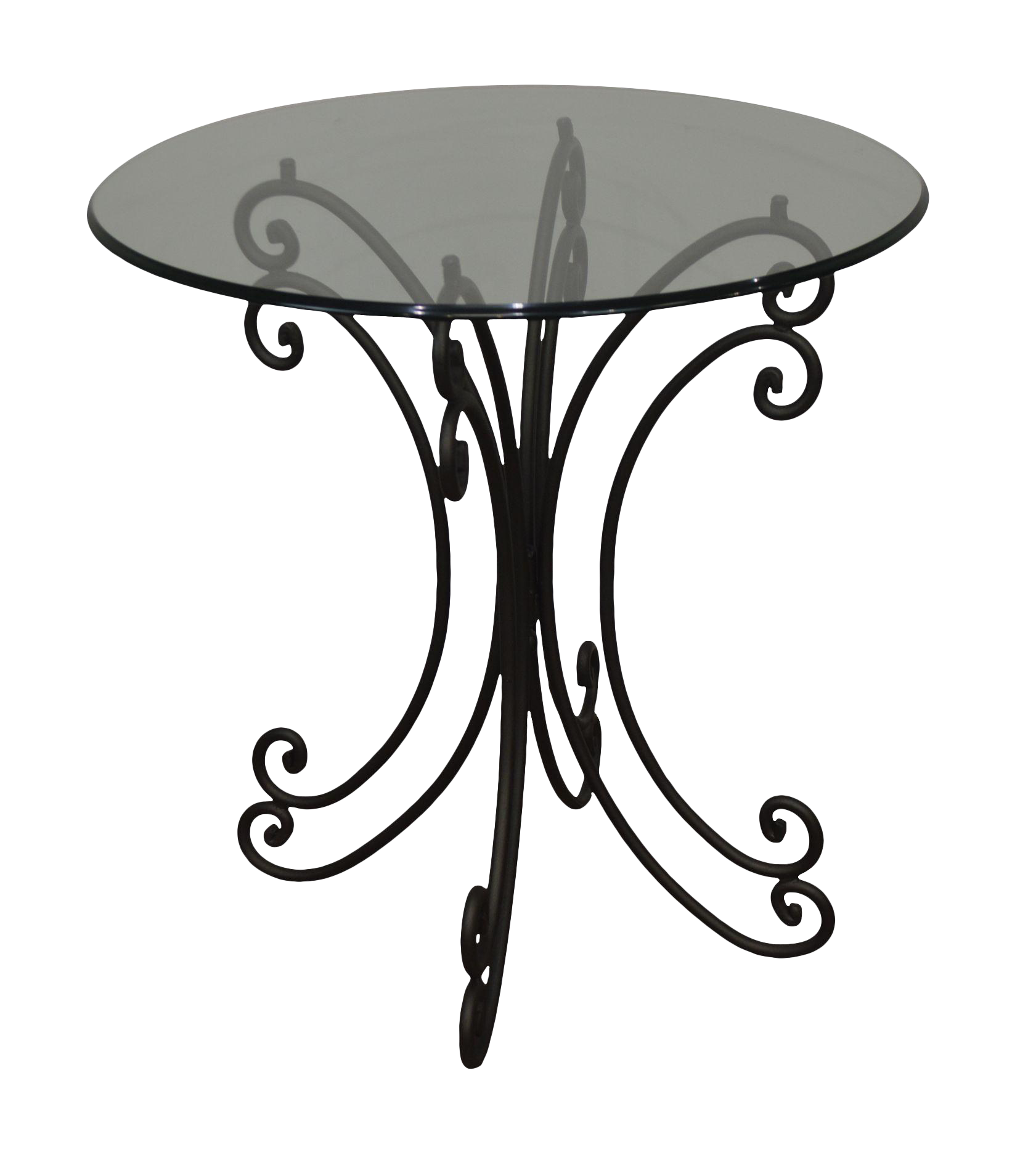 Wrought Iron Base Round Glass Top Bistro Dining Table Chairish