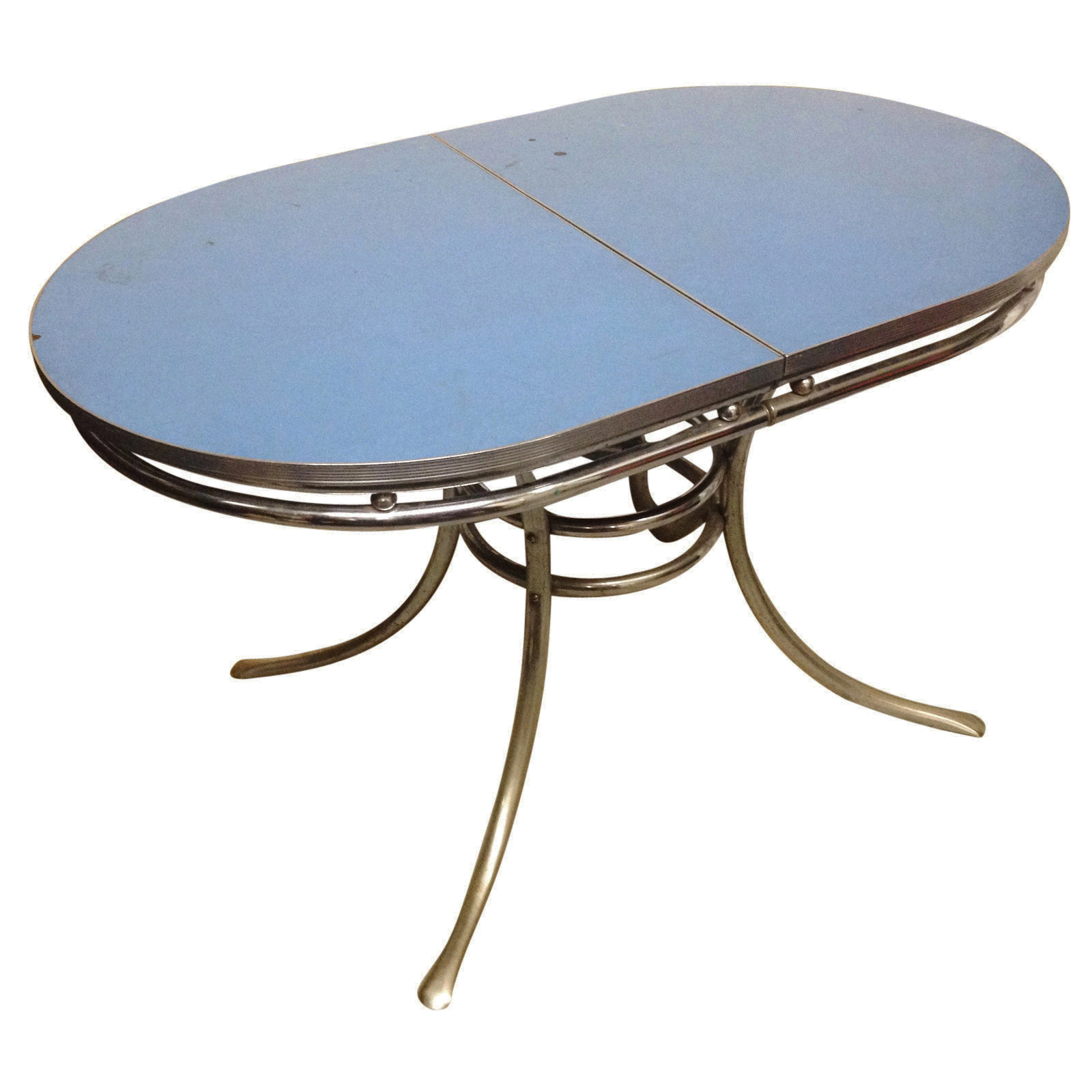 Vintage 1950s Chrome & Sky Blue Formica Table | Chairish