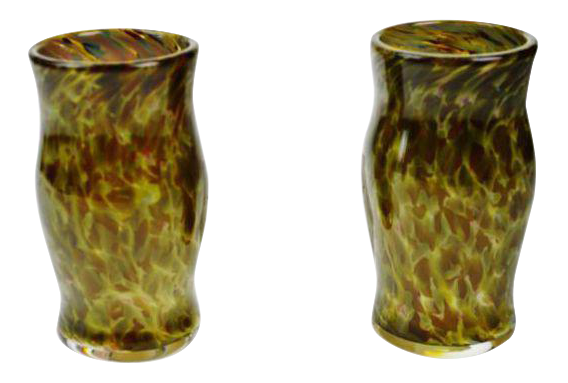 Hand blown art glass vessels a pair chairish for Kitchen cabinet trends 2018 combined with hand blown glass wall art