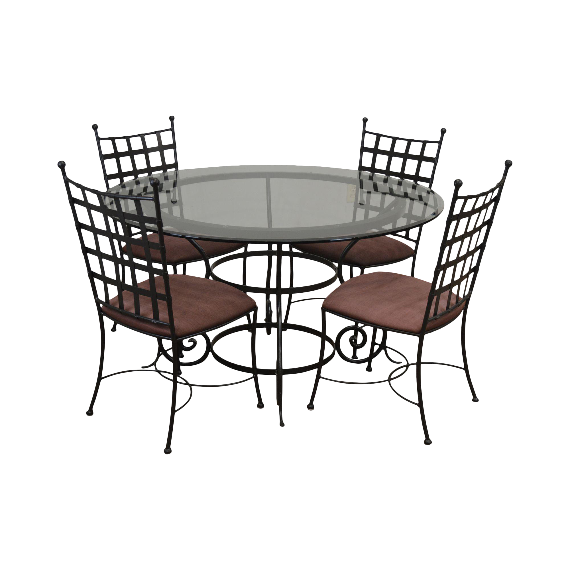 Picture of: Charleston Forge Etrusche Iron Round Glass Top Dining Table 4 Chairs Set Chairish