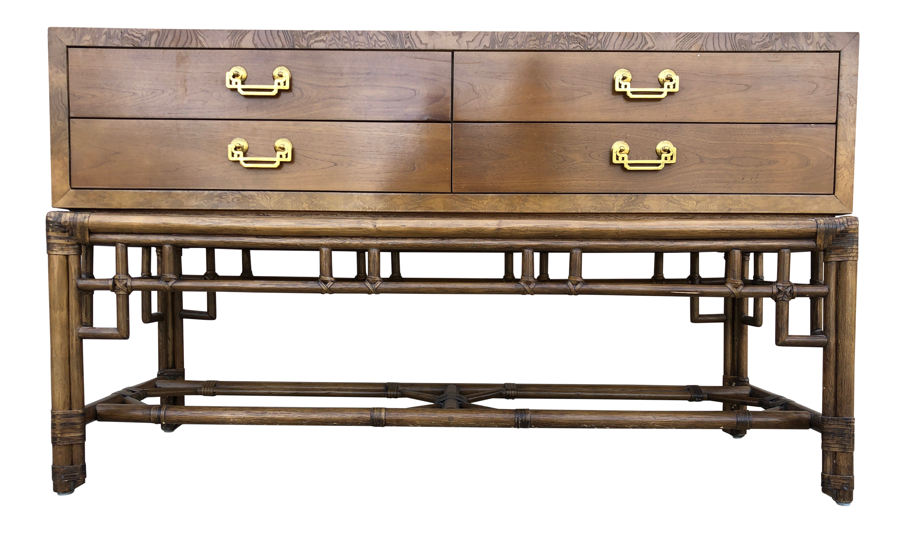 Credenza Console : S asian modern style ficks reed bamboo credenza console