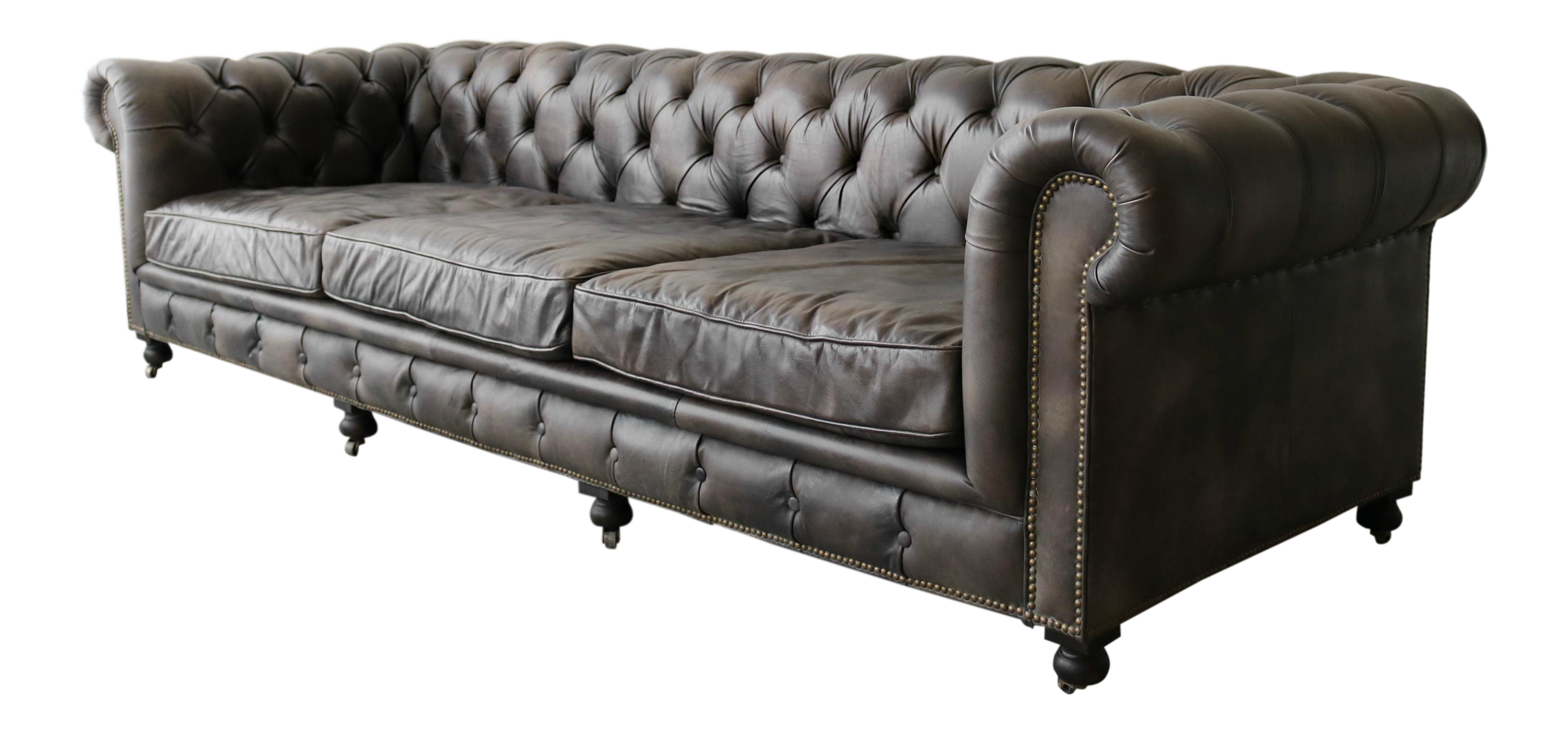 10ft Italian Leather Chesterfield Sofa
