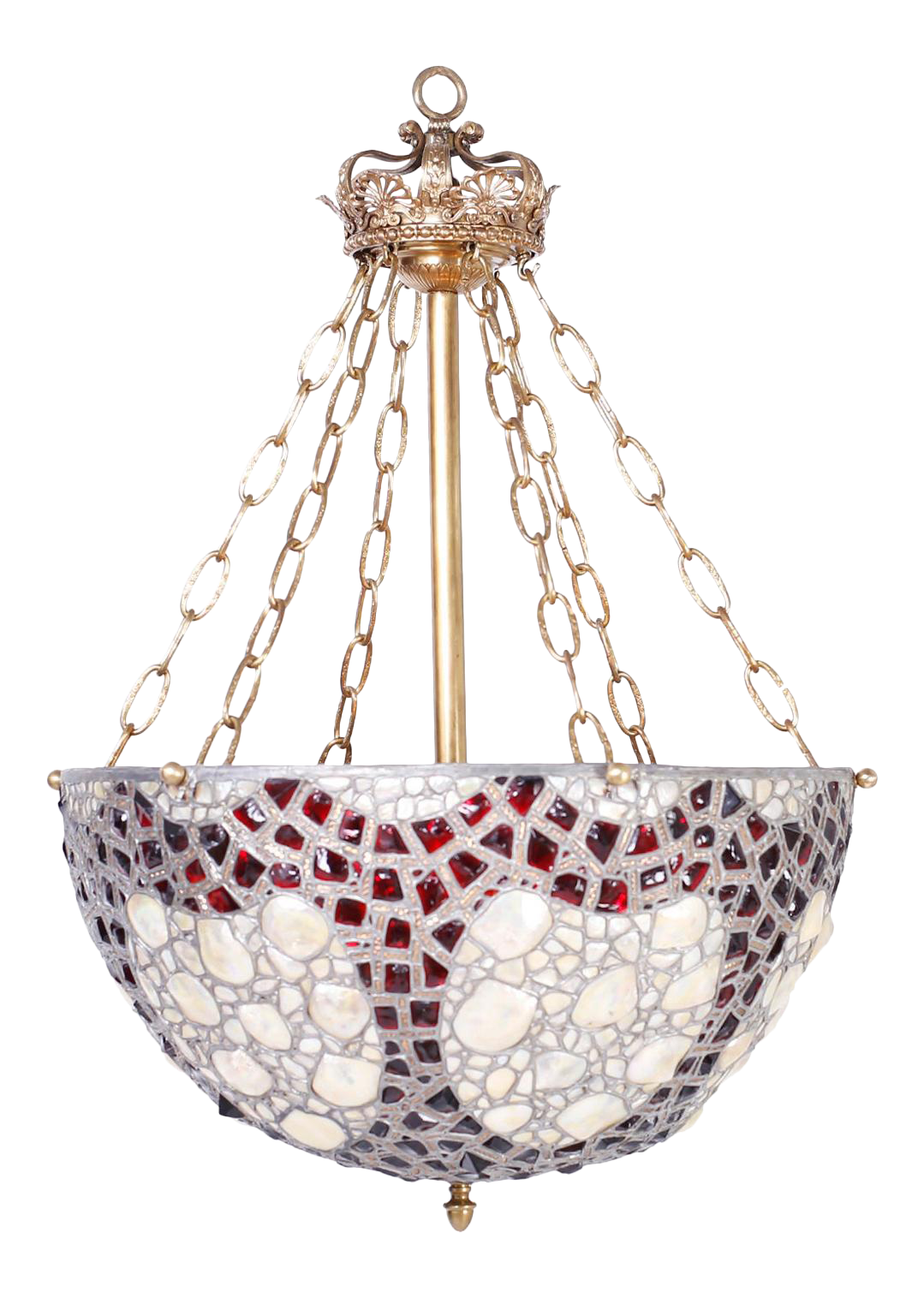 French Leaded Glass And Seashell Light Fixture Chairish