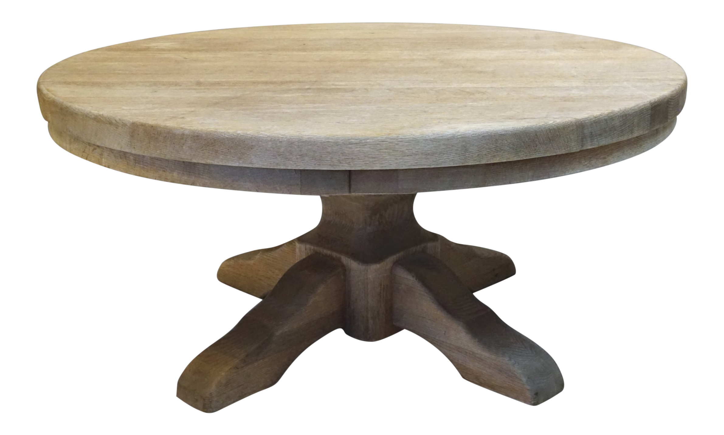 40 Round Wood Pedestal Base Farmhouse Coffee Table With Drawer Chairish