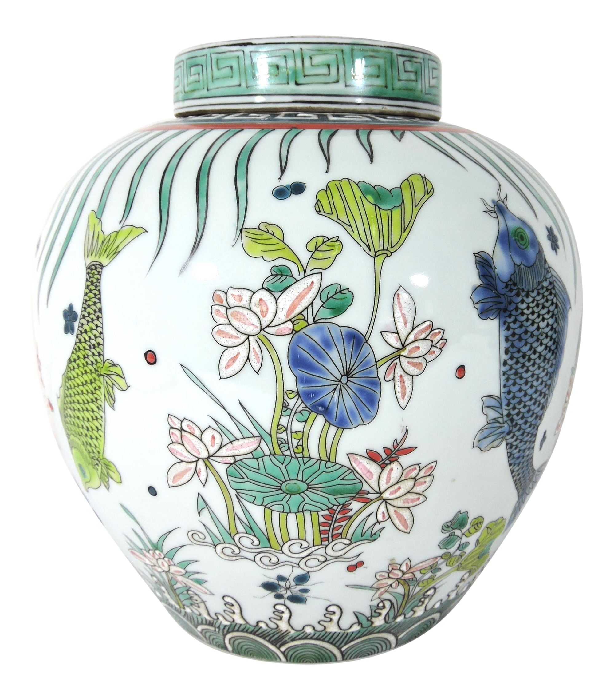 Early 20th Century Kangxi Chinese Lotus Flower Fish Ginger Jar