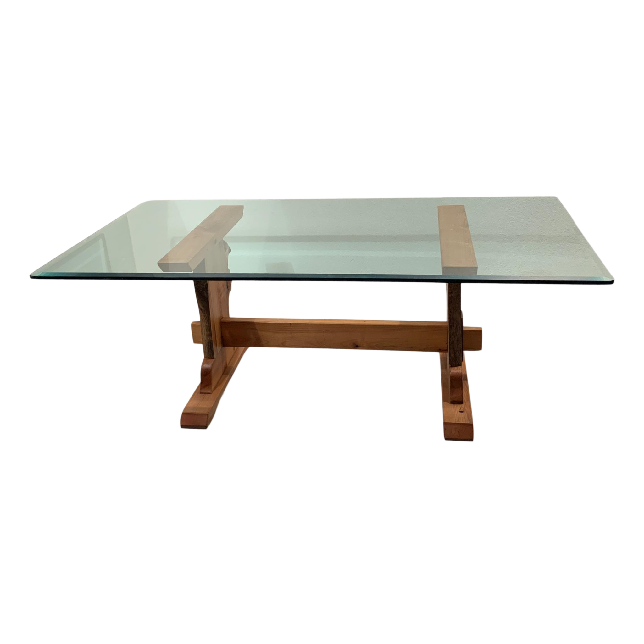 7 Ft Live Edge Trestle Table Base With Beveled Glass Top Chairish