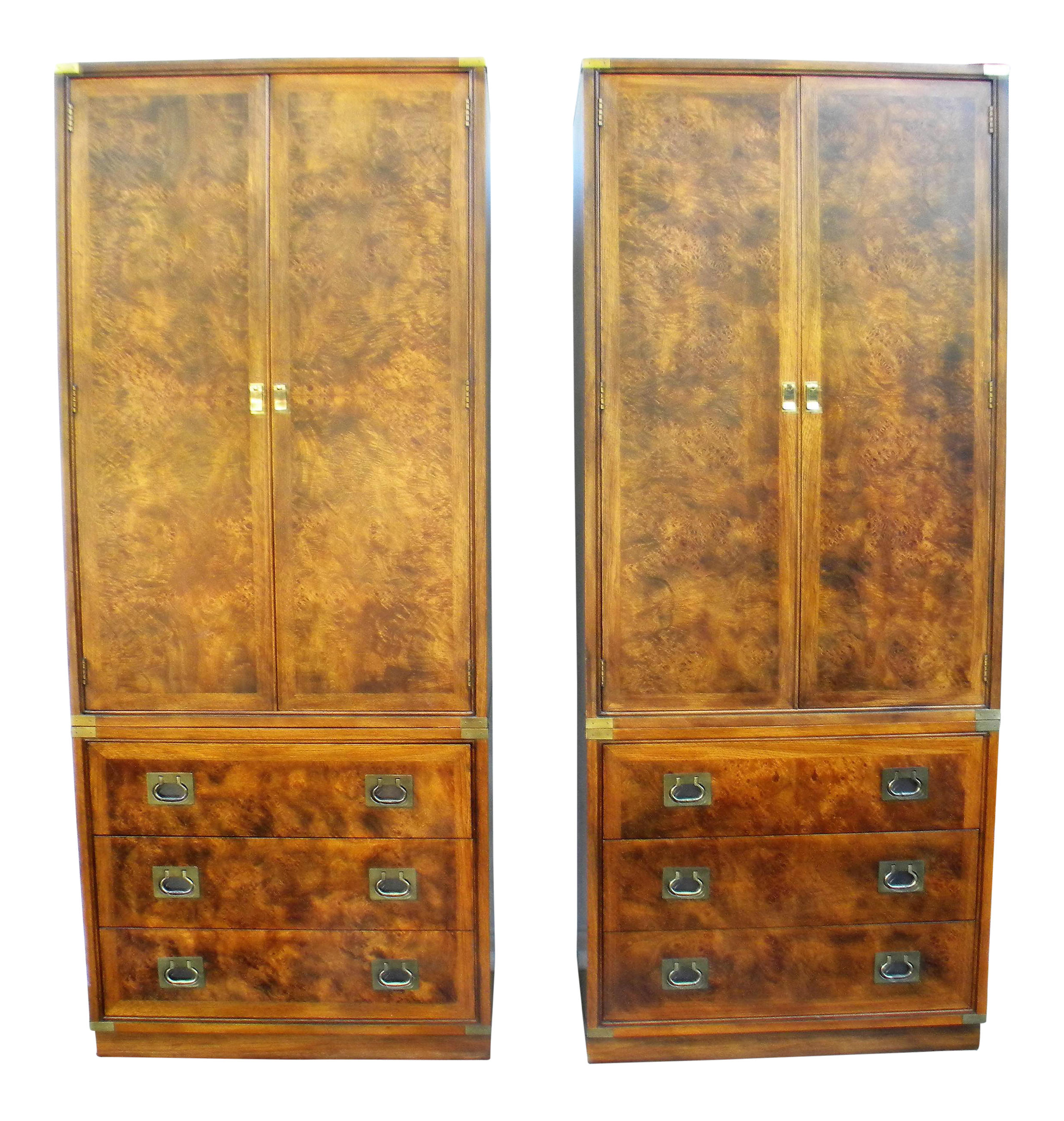 Hickory Furniture Company Campaign Cabinets - A Pair | Chairish