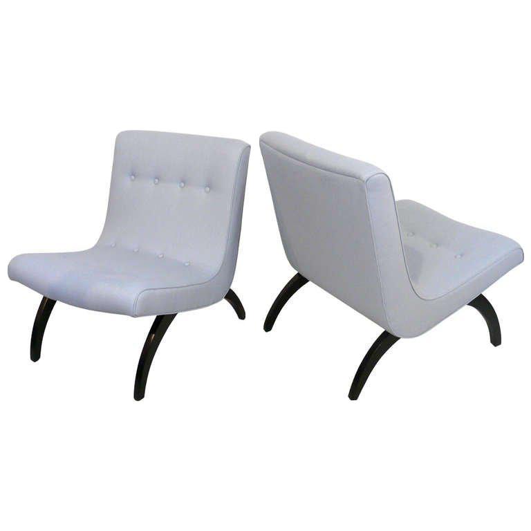 Exquisite Pair Of Milo Baughman Scoop Chairs Decaso