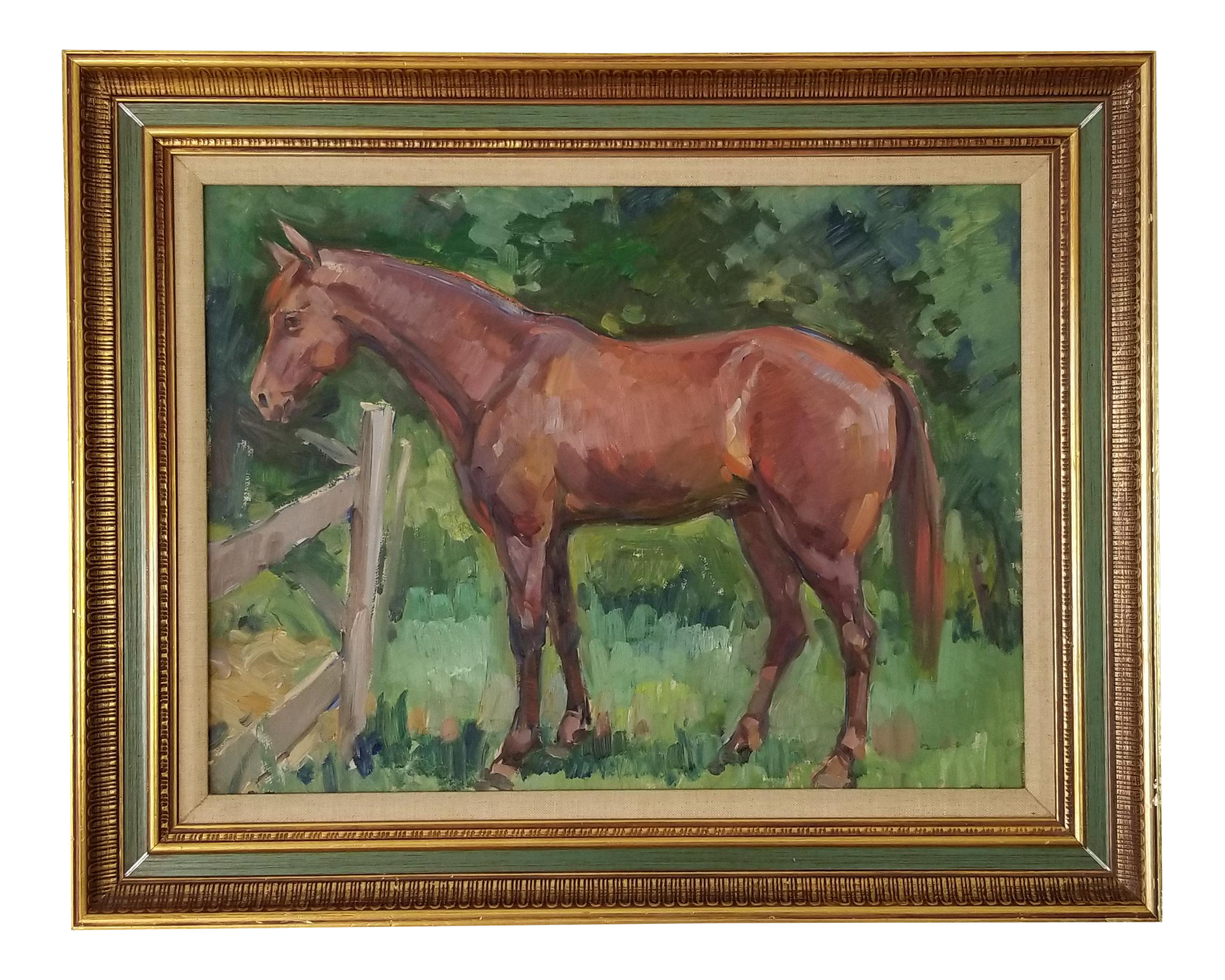 Vintage Abstract Horse In The Field Landscape Oil Painting Chairish