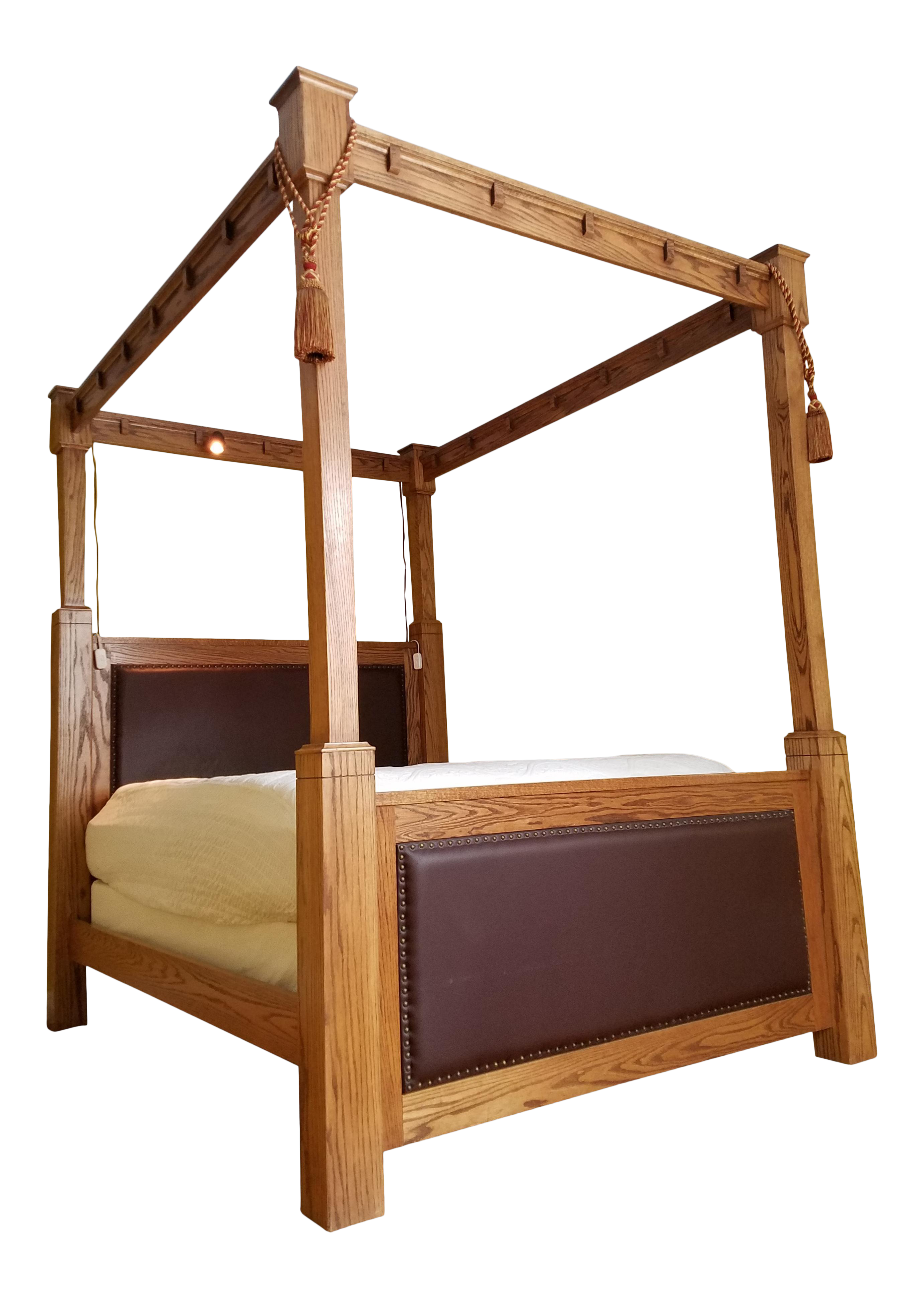 Mission Style Queen Size 8 Foot Four Poster Bed Frame Cross Cut Oak