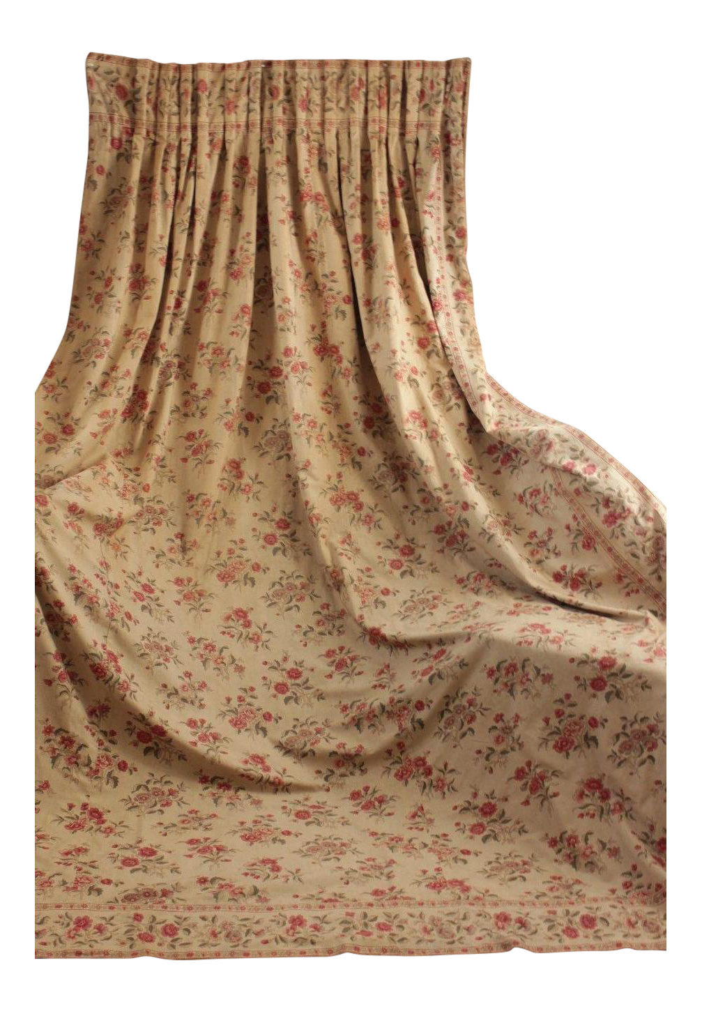 Antique French 19th Century Victorian Era Floral Backed Curtain C