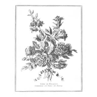French Modern Black and White Floral Print For Sale