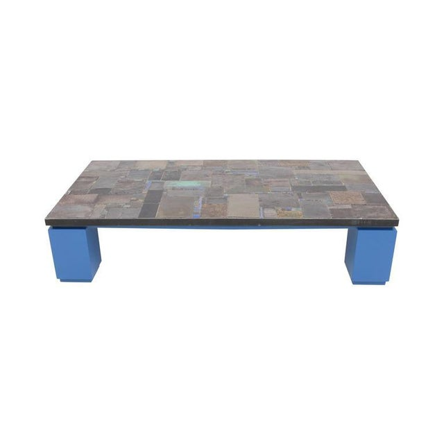 Rectangular ceramic tile coffee table by Pia Manu mounted on antique blue lacquered base One of the colors and glazes used...
