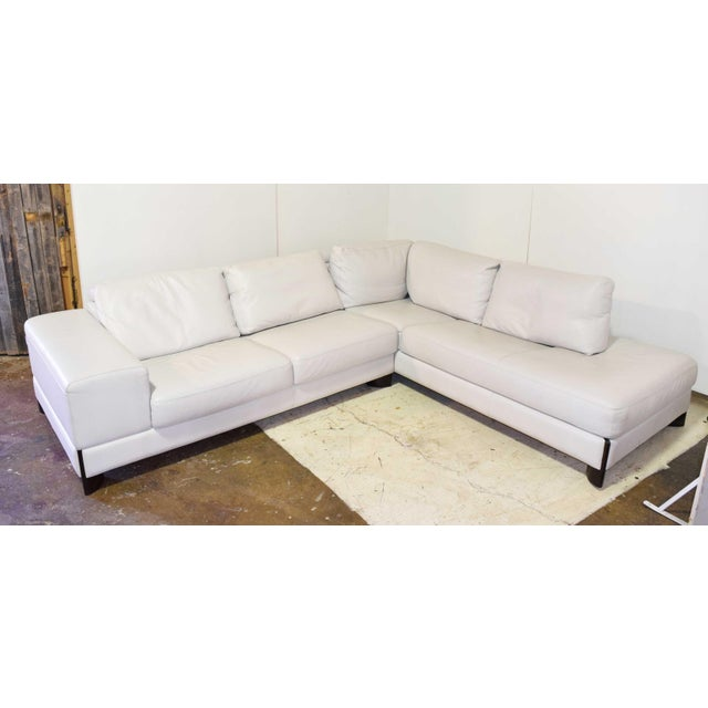 Italian Leather Sectional Sofa For Sale - Image 9 of 9