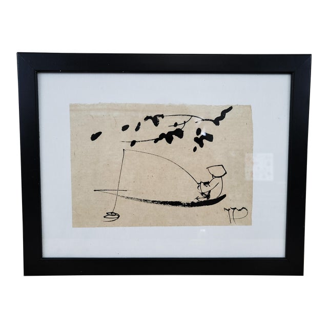 1990s Japanese Sumi Ink Drawing, Framed For Sale