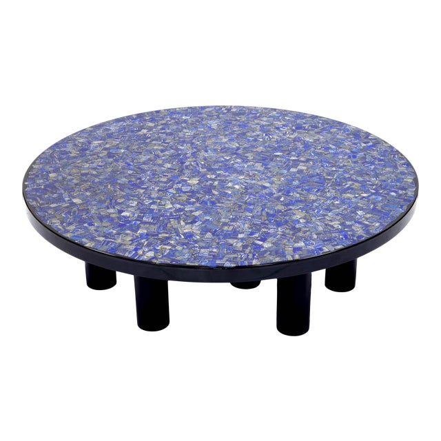 Coffee Table With Lapis Lazuli, by Etienne Allemeersch, Circa 1975 For Sale