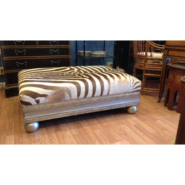 Anglo-Indian Enormous Zebra Hide Ottoman For Sale - Image 3 of 13