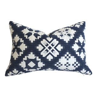 Schumacher Dark Blue Folk Art Pillow Cover 12x18 For Sale