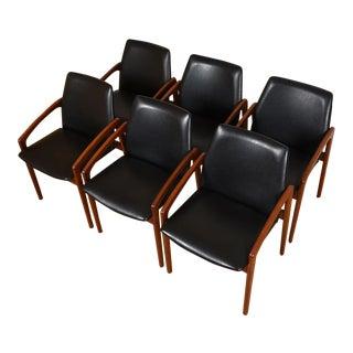Kai Kristiansen Danish Modern Teak Arm Chairs - Set of 6 For Sale