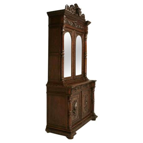 Antique French Carved Oak Hunt Cabinet For Sale
