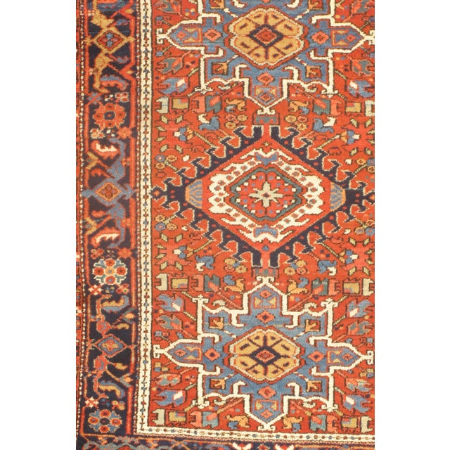 Hand-knotted Karaje design. Made of fine lambswool. Natural dye. From Persia.