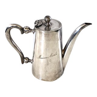 Belgian Hotel Silver Teapot For Sale