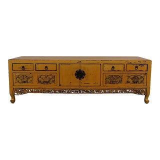 Antique Chinese Carved Bed Foot Chest/Coffee Table For Sale