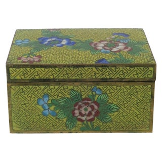 Chinese Yellow Cloisonne Box For Sale