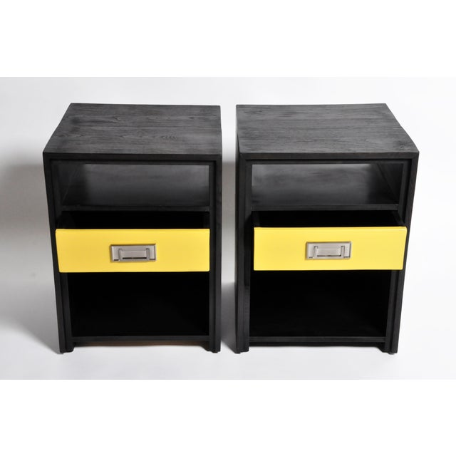 Gtc2 Pair of Campaign Bedside Chests by the Golden Triangle Chicago For Sale - Image 4 of 13