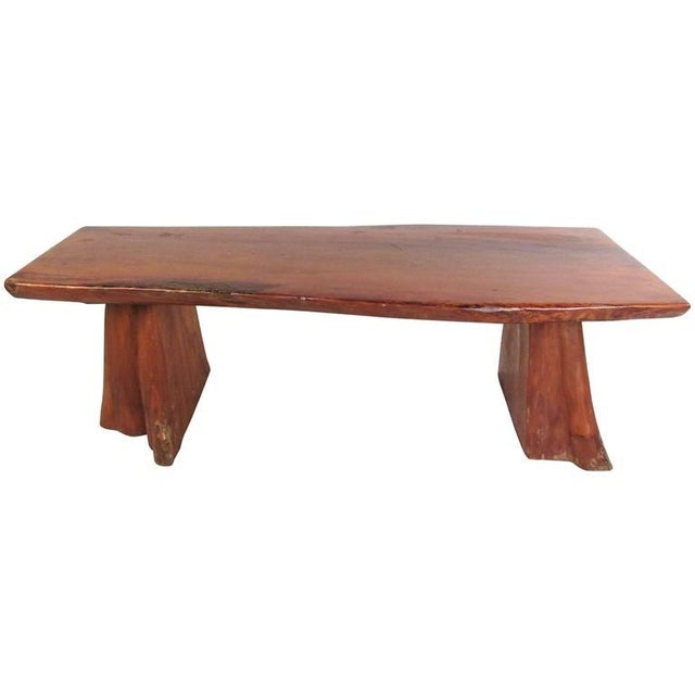Boho Chic Live Edge Tree Slab Coffee Table or Bench For Sale - Image 3 of 11