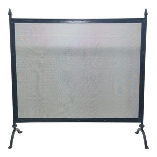 Antique Farmhouse Style Wrought Iron Fireplace Screen For Sale