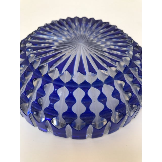 Bohemian Cobalt Blue Lead Crystal Glass Ashtray For Sale In Chicago - Image 6 of 7