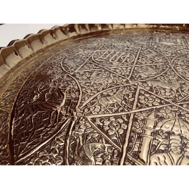 Large Handcrafted Decorative Indo-Persian Hammered Brass Tray For Sale - Image 4 of 13