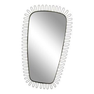 1950s Mid Century Modern Silver Rockabilly Mirror