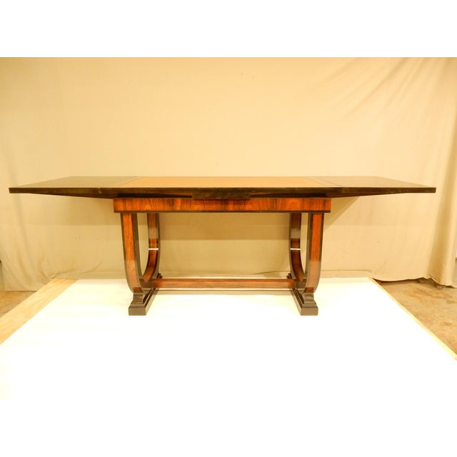 Wood Art Deco Leather Top Table With Extensions For Sale - Image 7 of 11