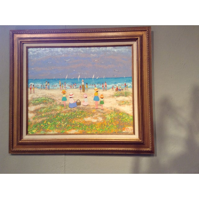 french beach scene in acrylic painting on canvas chairish