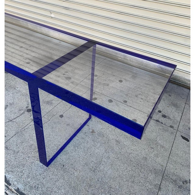 Early 21st Century Custom Bench in Deep Blue and Clear Lucite by Cain Modern For Sale - Image 5 of 13