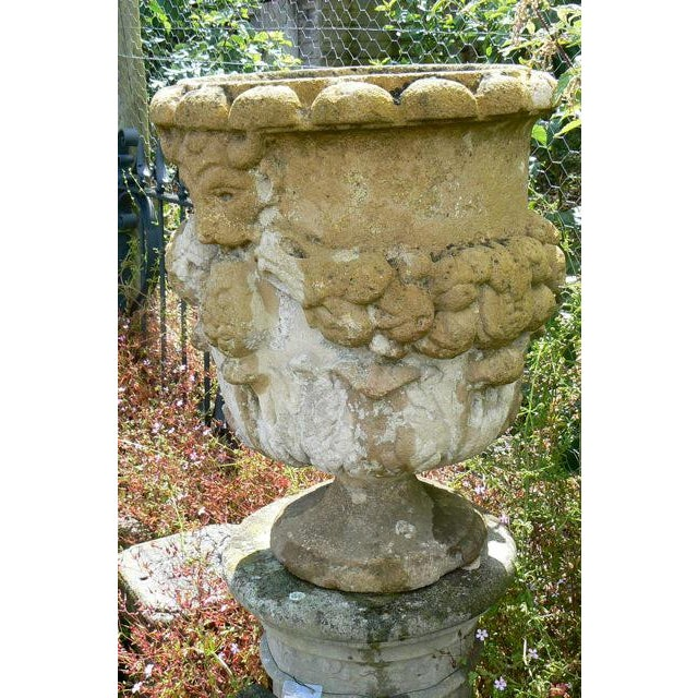 Georgian 18th Century Hand Carved Cotswold Stone Planters - a Pair For Sale - Image 3 of 10