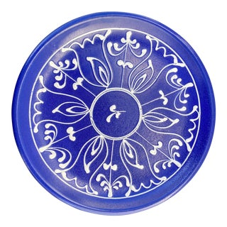 Cobalt and White Hand Painted Decorative Plate For Sale
