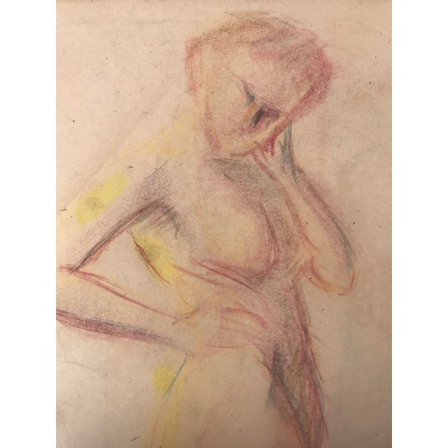1950s Vintage Pastel Drawing Study of a Nude For Sale - Image 4 of 5