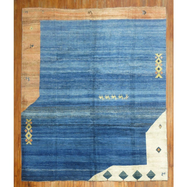Vintage Pictorial Gabbeh, 9'10'' X 11'6'' For Sale - Image 12 of 12